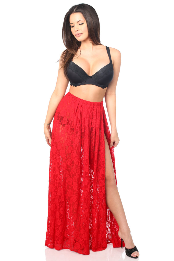 Plus Size Sheer Red Lace Skirt-Accessories-Daisy Corsets-Regular-Unspoken Fashion