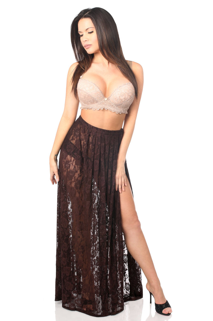 Sheer Dark Brown Lace Skirt-Accessories-Daisy Corsets-Regular-Unspoken Fashion