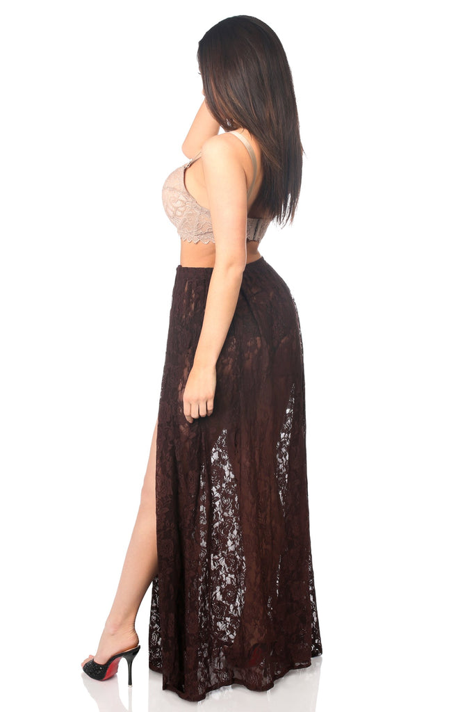 Sheer Dark Brown Lace Skirt-Accessories-Daisy Corsets-Unspoken Fashion