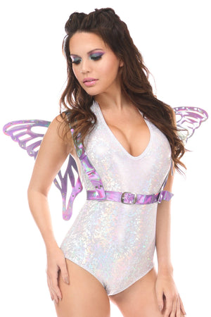 Lavender Holo Body Harness w/Wings - Large-Body Harnesses-Daisy Corsets-Queen-Unspoken Fashion