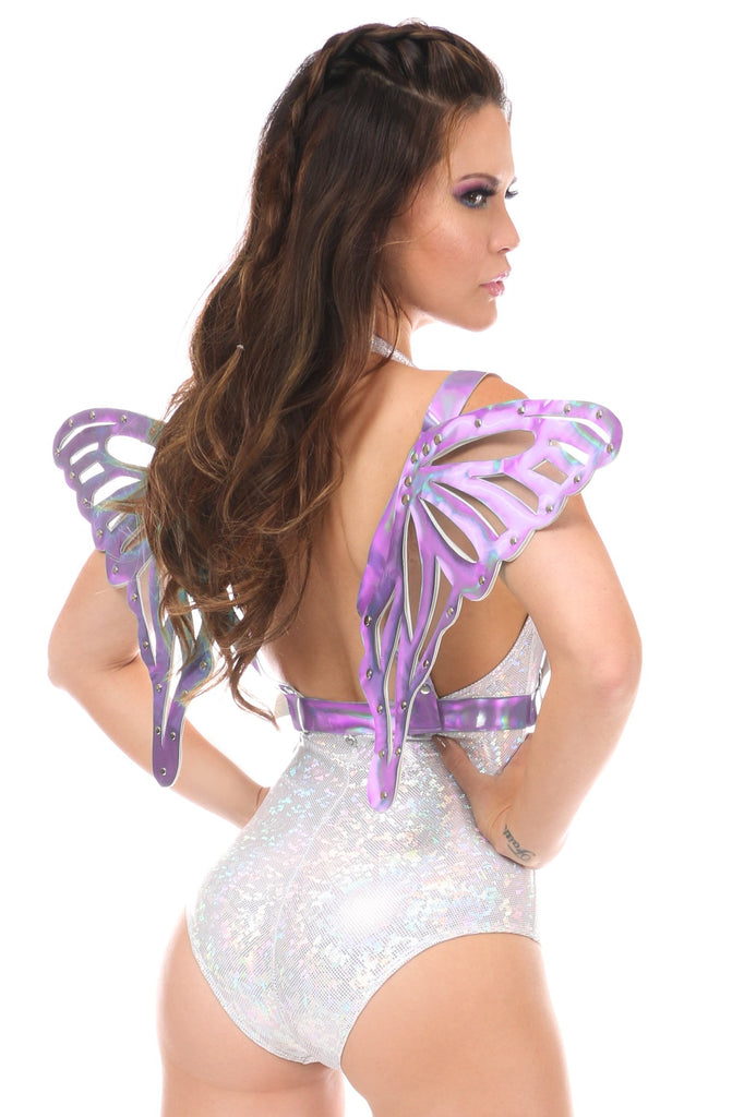 Lavender Holo Body Harness w/Wings - Large-Body Harnesses-Daisy Corsets-Unspoken Fashion