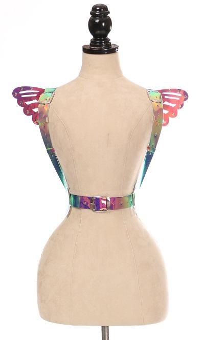 Rainbow Holo Body Harness w/Wings - Small-Body Harnesses-Daisy Corsets-Regular-Unspoken Fashion