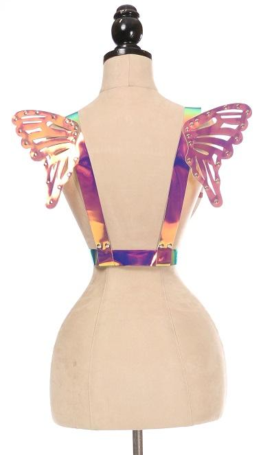 Rainbow Holo Body Harness w/Wings - Small-Body Harnesses-Daisy Corsets-Unspoken Fashion