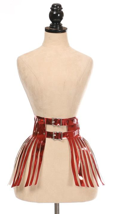 Red Metallic Fringe Skirt-Body Harnesses-Daisy Corsets-4X-Unspoken Fashion