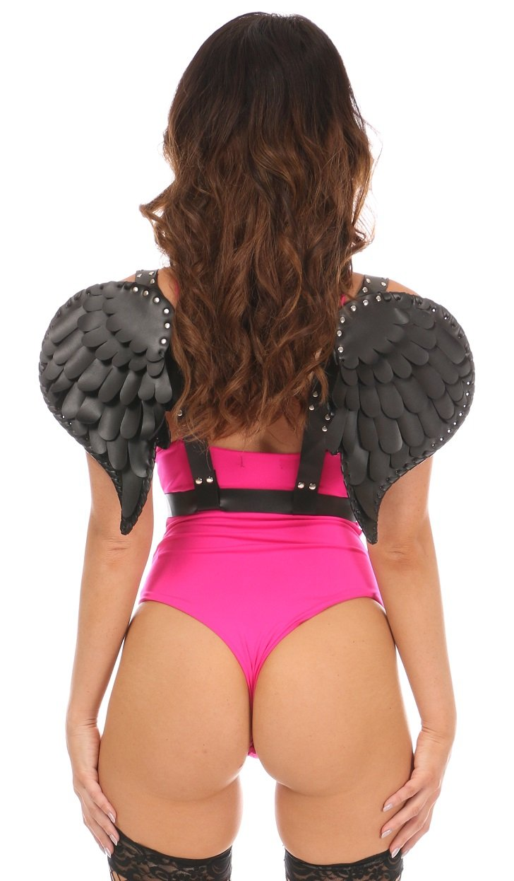 Black Vegan Leather Angel Wings-Body Harnesses-Daisy Corsets-Queen-Unspoken Fashion