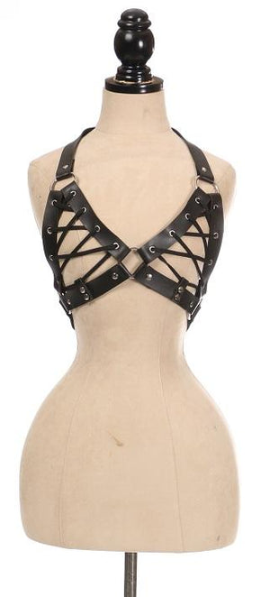 Black Faux Leather Lace-Up Bra Top - Black-Body Harnesses-Daisy Corsets-Queen-Unspoken Fashion