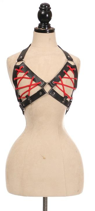 Black Faux Leather Lace-Up Bra Top - Red-Body Harnesses-Daisy Corsets-Regular-Unspoken Fashion