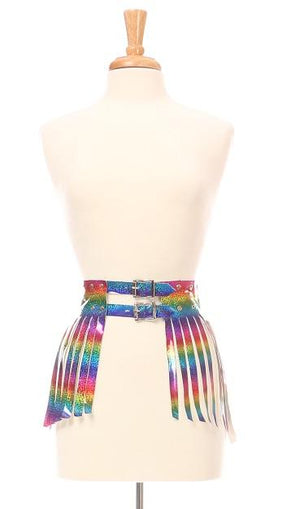 Rainbow Glitter Fringe Mini Skirt-Body Harnesses-Daisy Corsets-Large-Unspoken Fashion