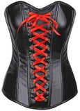 Lavish Wet Look Faux Leather Lace-Up Over Bust Corset