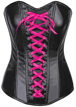 Lavish Wet Look Faux Leather Lace-Up Over Bust Corset-Corsets-Daisy Corsets-Small-Unspoken Fashion