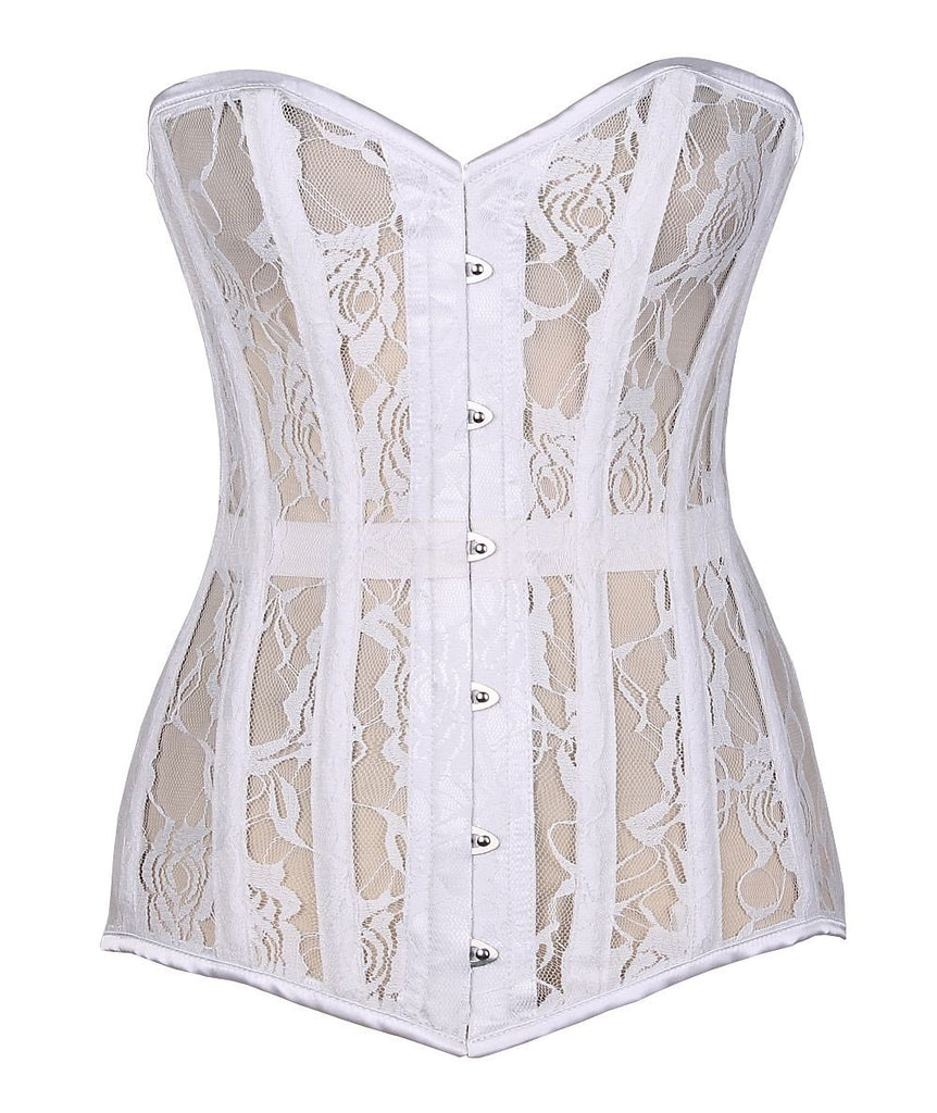 Lavish White Sheer Lace Over Bust Corset-Corsets-Daisy Corsets-Large-Unspoken Fashion