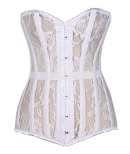 Load image into Gallery viewer, Lavish White Sheer Lace Over Bust Corset-Corsets-Daisy Corsets-Large-Unspoken Fashion