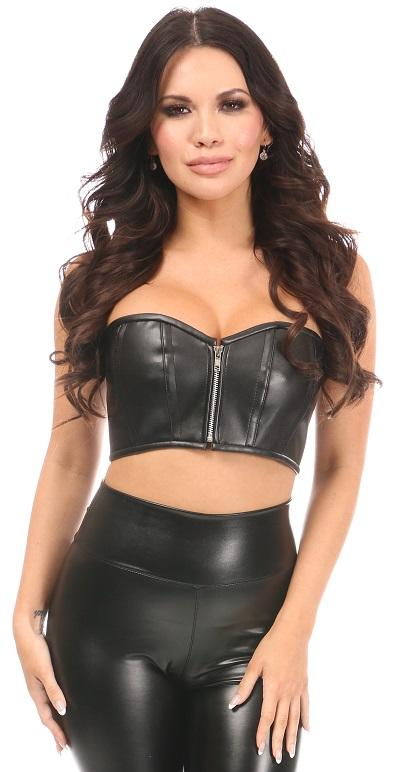 Lavish Black Faux Leather Short Bustier Top-Corsets-Daisy Corsets-Unspoken Fashion