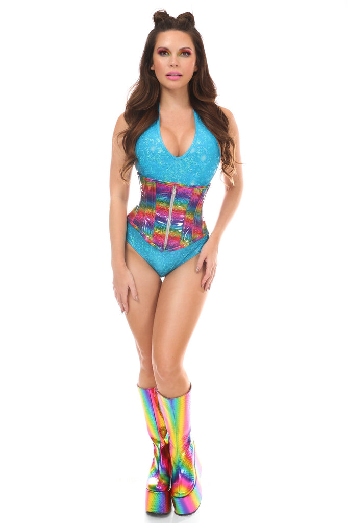 Top Drawer Rainbow Glitter Holo Steel Boned Mid Under Bust Corset-Corsets-Daisy Corsets-Medium-Unspoken Fashion