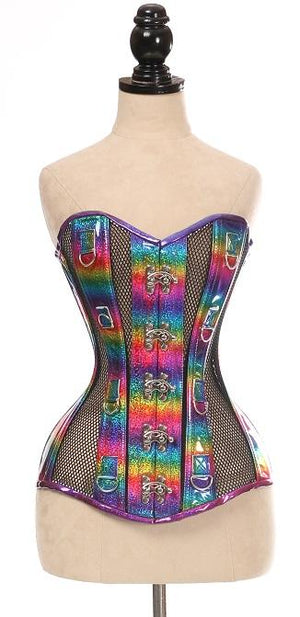 Top Drawer Rainbow Glitter PVC & Black Fishnet Steel Boned Over Bust Corset-Corsets-Daisy Corsets-X Large-Unspoken Fashion