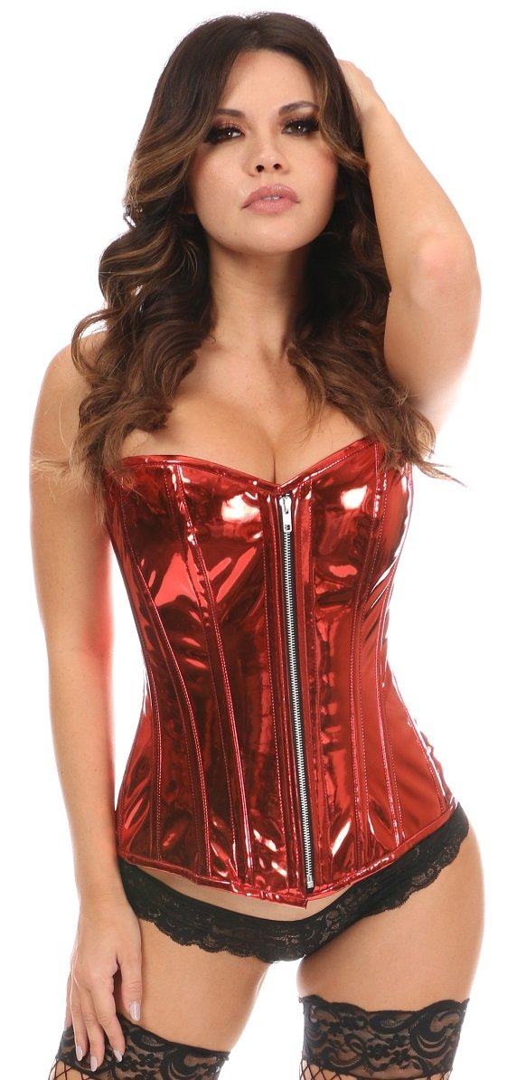 Top Drawer Red Metallic Steel Boned Overbust Corset-Corsets & Bustiers-Daisy Corsets-Large-Unspoken Fashion
