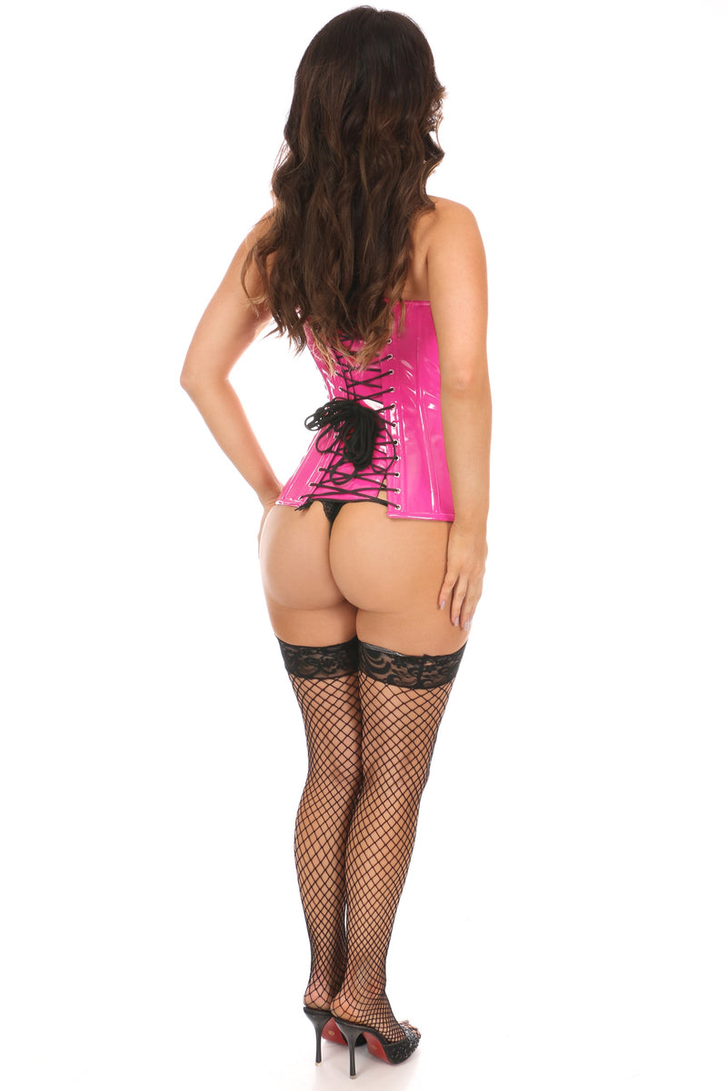 Top Drawer Hot Pink Patent PVC Steel Boned Over Bust Corset-Corsets-Daisy Corsets-Small-Unspoken Fashion