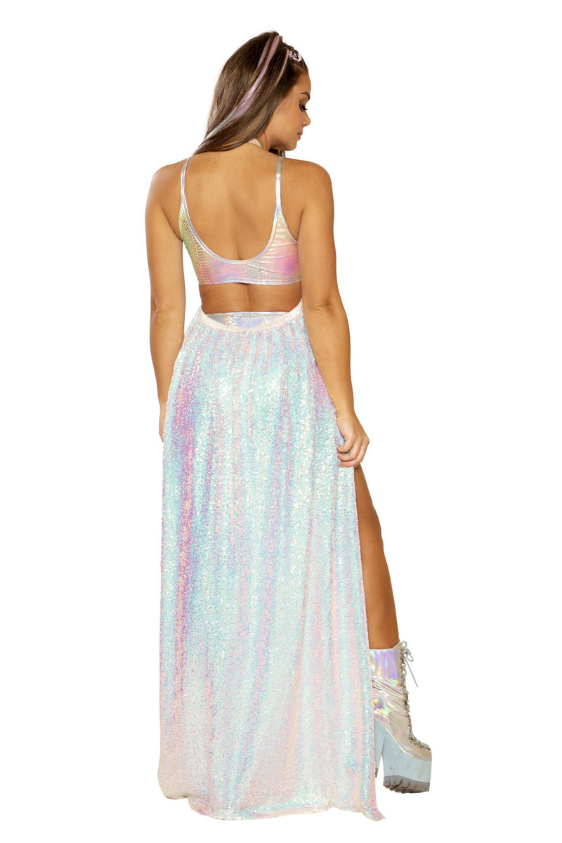 Rave FF364 - Sequin Mesh Harness Gypsy Skirt - J Valentine-Rave Skirts-J Valentine-Unspoken Fashion