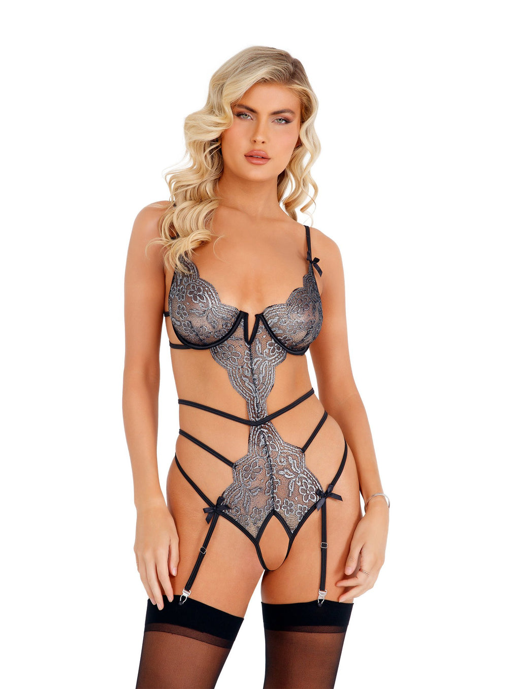 Roma Confidential LI403 - Strappy Metallic Crotchless Teddy-Bodysuits & Teddies-Roma-X-Small-Silver/Black-Unspoken Fashion