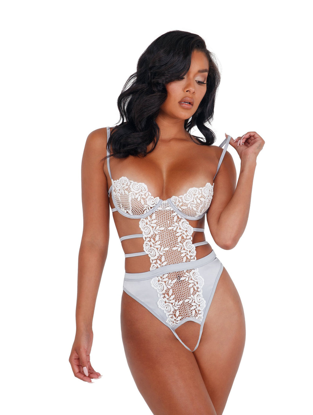 Roma Confidential LI405 - 1pc Embroidered Lace & Satin Crotchless Teddy-Bodysuits & Teddies-Roma-Small-Silver/White-Unspoken Fashion