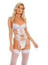 Roma Confidential LI407 - 1pc Embroidered Lace & Satin Bustier Set-Corsets & Bustiers-Roma-Small-Silver/White-Unspoken Fashion