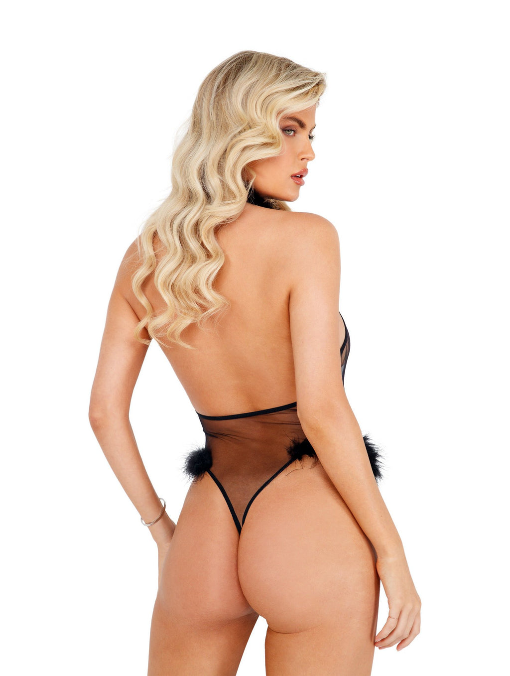 Roma Confidential LI428 - 1pc Marabou Sheer Teddy-Bodysuits & Teddies-Roma-Unspoken Fashion