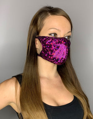 Purple Shimmer Face Mask - Roma M111-Face Masks-Roma-One Size-Purple-Unspoken Fashion