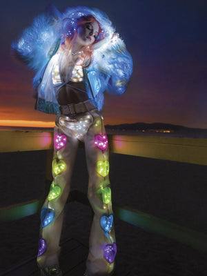 Rave FF497 - Light-Up Rainbow Heart Window Chaps - J Valentine-Rave Bottoms-J Valentine-SMALL/MEDIUM-White/White Lights-Unspoken Fashion