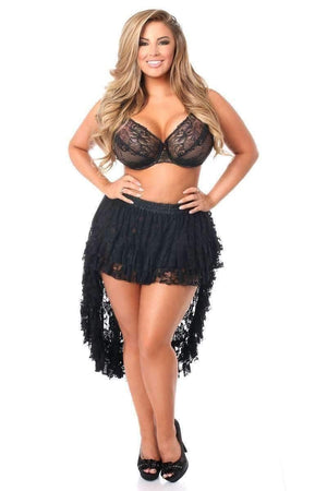 Black Lace High Low Lace Skirt By Daisy Corsets-Skirts-Daisy Corsets-One Size-Black-Unspoken Fashion