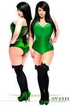 Load image into Gallery viewer, Daisy Corsets Lavish Green Satin Corset Romper-Corsets-Daisy Corsets-Unspoken Fashion