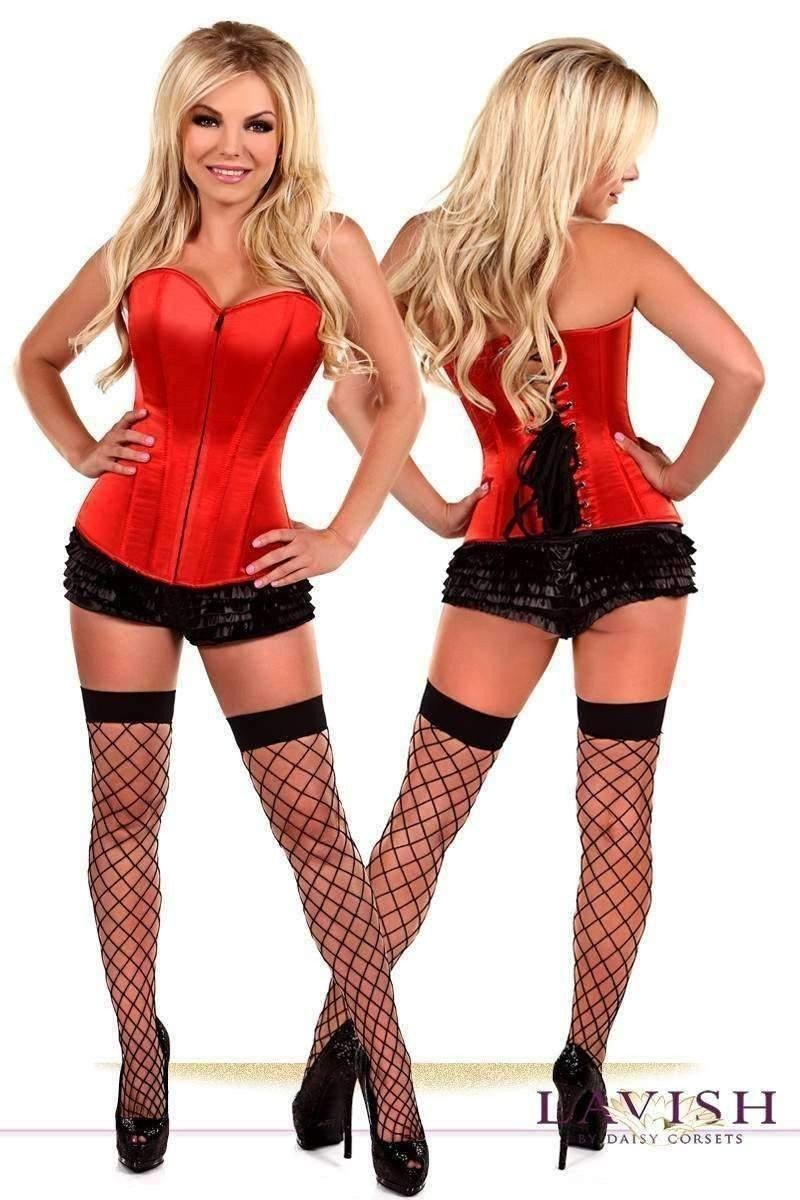 Daisy Corsets Lavish Red Sweetheart Front Zipper Corset-Corsets & Bustiers-Daisy Corsets-Unspoken Fashion