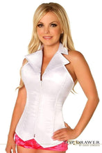 Load image into Gallery viewer, Daisy Corsets Lavish White Collared Front Zipper Corset-Corsets-Daisy Corsets-Unspoken Fashion