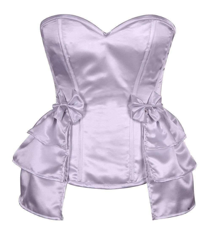 Daisy Corsets Lavish White Satin Corset w/Removable Snap on Skirt-Corsets & Bustiers-Daisy Corsets-Unspoken Fashion
