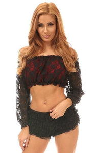Daisy Corsets Red w/Black Lace Overlay Long Sleeve Peasant Top-Peasant Tops-Daisy Corsets-Unspoken Fashion