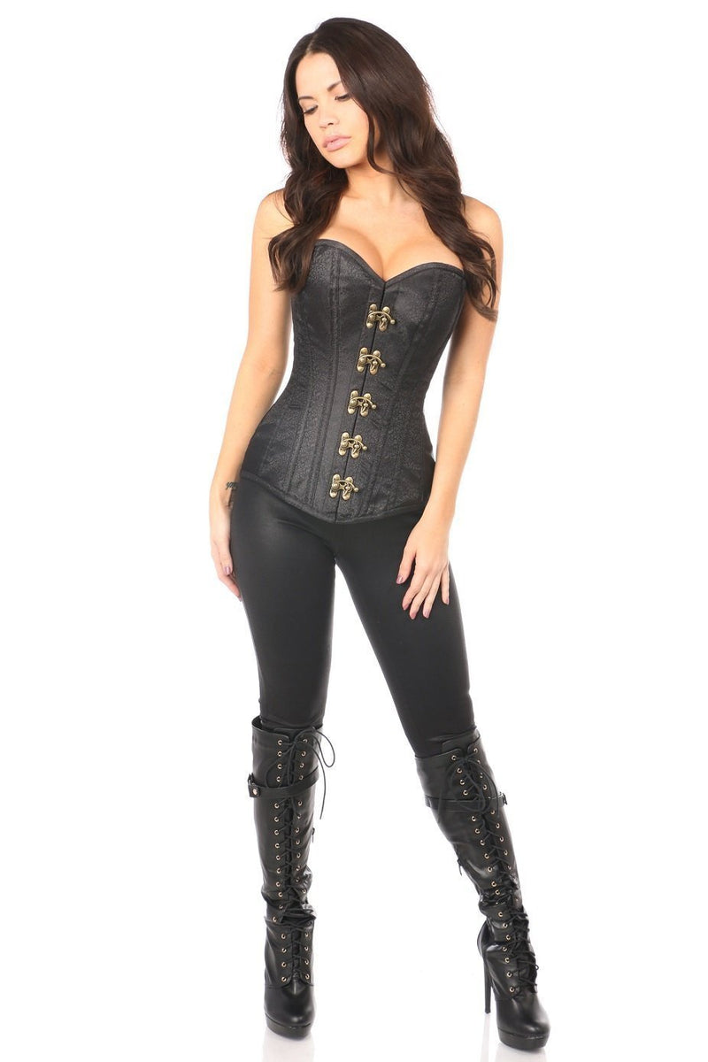 Daisy Corsets Top Drawer Black Brocade Steel Boned Corset w/Clasp Closure-Corsets & Bustiers-Daisy Corsets-Unspoken Fashion