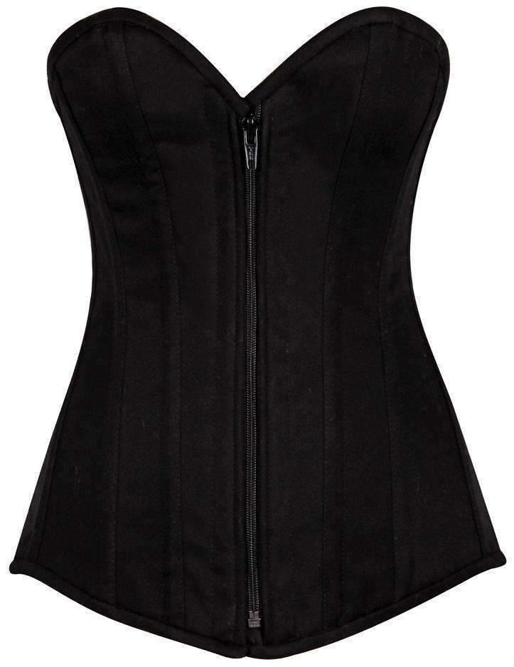 Daisy Corsets Top Drawer Black Cotton Overbust Steel Boned Corset-Corsets-Daisy Corsets-Unspoken Fashion