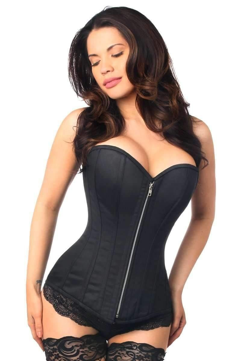 Daisy Corsets Top Drawer Black Cotton Steel Boned Corset w/Zipper-Corsets & Bustiers-Daisy Corsets-S-Black-Unspoken Fashion