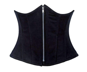 Daisy Corsets Top Drawer Black Cotton Steel Boned Underbust Corset w/Zipper-Corsets-Daisy Corsets-Unspoken Fashion