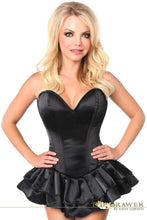 Load image into Gallery viewer, Daisy Corsets Top Drawer Black Satin Steel Boned Corset Dress-Corseted Dresses-Daisy Corsets-Unspoken Fashion