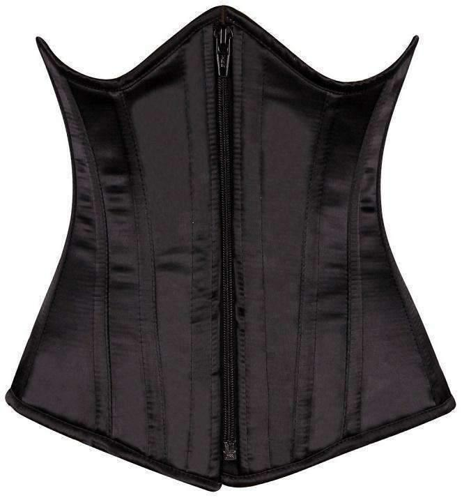 Daisy Corsets Top Drawer Black Satin Underbust Steel Boned Corset-Corsets-Daisy Corsets-Unspoken Fashion