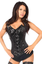 Load image into Gallery viewer, Daisy Corsets Top Drawer Black Sequin Pointed Top Steel Boned Corset-Corsets-Daisy Corsets-S-Black-Unspoken Fashion