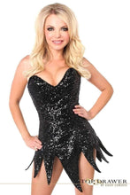 Load image into Gallery viewer, Daisy Corsets Top Drawer Black Sequin Steel Boned Corset Dress-Corseted Dresses-Daisy Corsets-Unspoken Fashion
