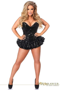 Daisy Corsets Top Drawer Black Sequin Steel Boned Mini Corset Dress-Corseted Dresses-Daisy Corsets-Unspoken Fashion