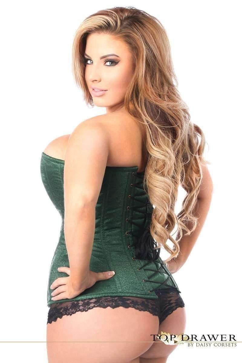 Daisy Corsets Top Drawer Dark Green Brocade Steel Boned Corset w/Clasp Closure-Corsets & Bustiers-Daisy Corsets-Unspoken Fashion