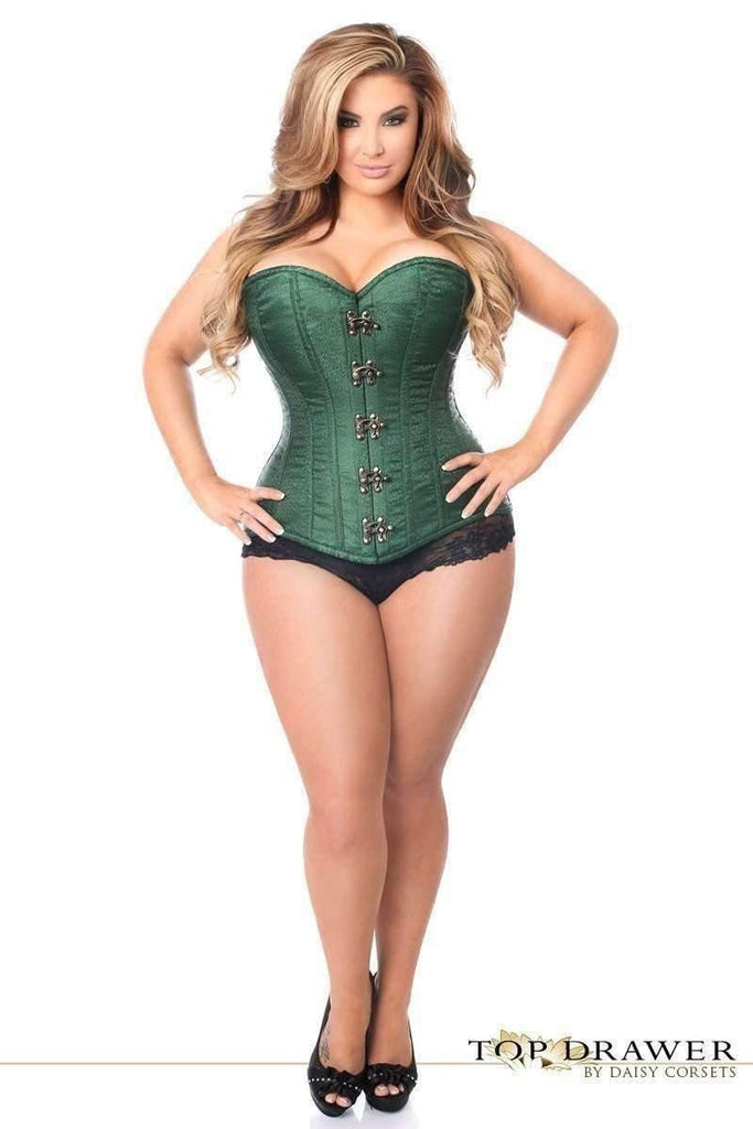 Daisy Corsets Top Drawer Dark Green Brocade Steel Boned Corset w/Clasp Closure-Corsets-Daisy Corsets-Unspoken Fashion