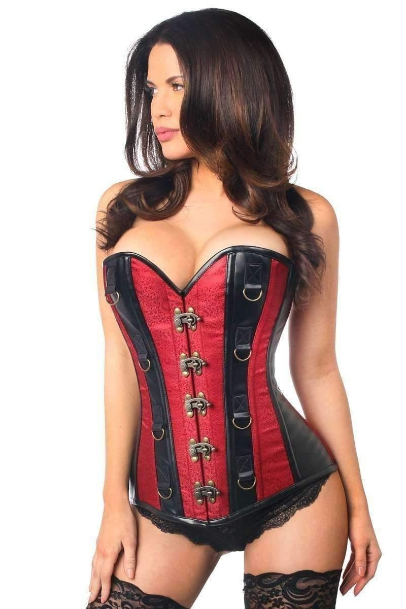 Daisy Corsets Top Drawer Dark Red Brocade & Faux Leather Steel Boned Corset-Corsets-Daisy Corsets-Unspoken Fashion