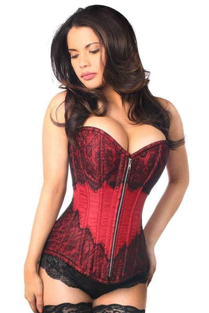 Daisy Corsets Top Drawer Dark Red Brocade Steel Boned Corset w/Black Eyelash Lace-Corsets-Daisy Corsets-Unspoken Fashion