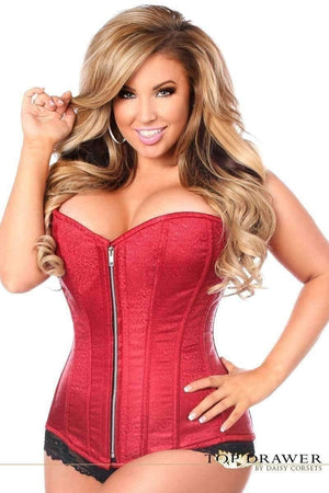 Daisy Corsets Top Drawer Dark Red Brocade Steel Boned Corset-Corsets-Daisy Corsets-Unspoken Fashion