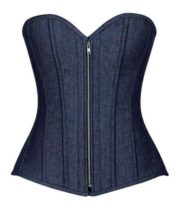 Daisy Corsets Top Drawer Denim Blue Steel Boned Overbust Corset w/Zipper-Corsets-Daisy Corsets-Unspoken Fashion