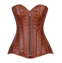 Load image into Gallery viewer, Daisy Corsets Top Drawer Distressed Brown Faux Leather Steel Boned Corset-Corsets-Daisy Corsets-Unspoken Fashion
